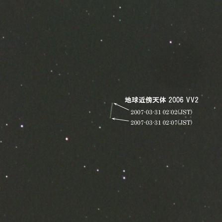 地球近傍天体 2006 VV2 の軌跡