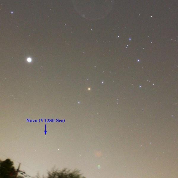 さそり座新星(V1280 Sco)2007年2月22日 水戸市千波町にて